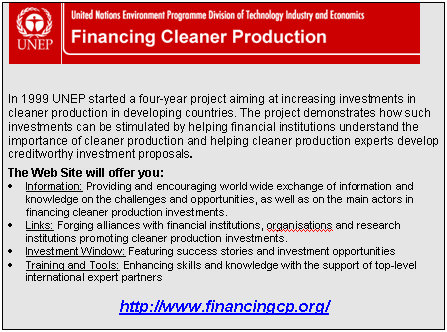 Financing Cleaner Production